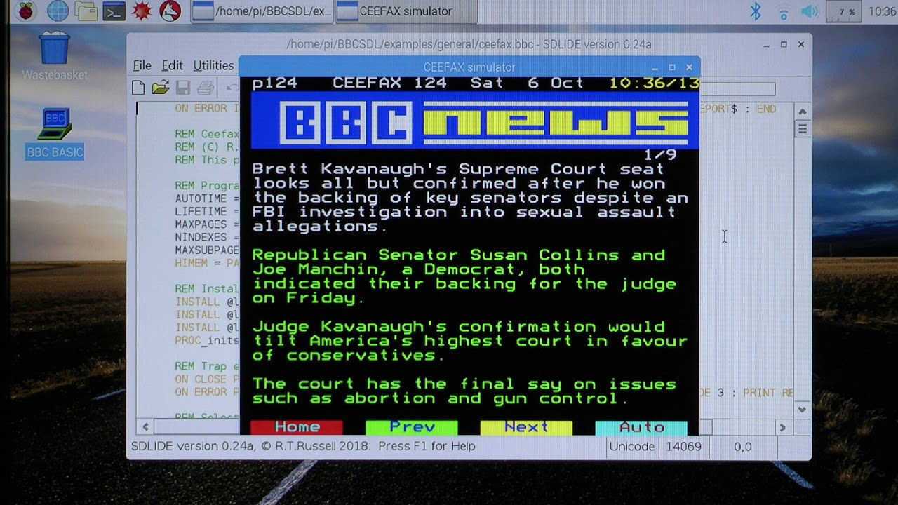 Ceefax Simulator running on Raspberry Pi