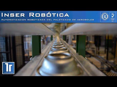 Automatización del paletizado de aerosoles mediante robot industrial.