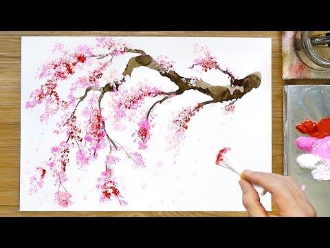 Cherry Blossom Tree Acrylic Painting Technique