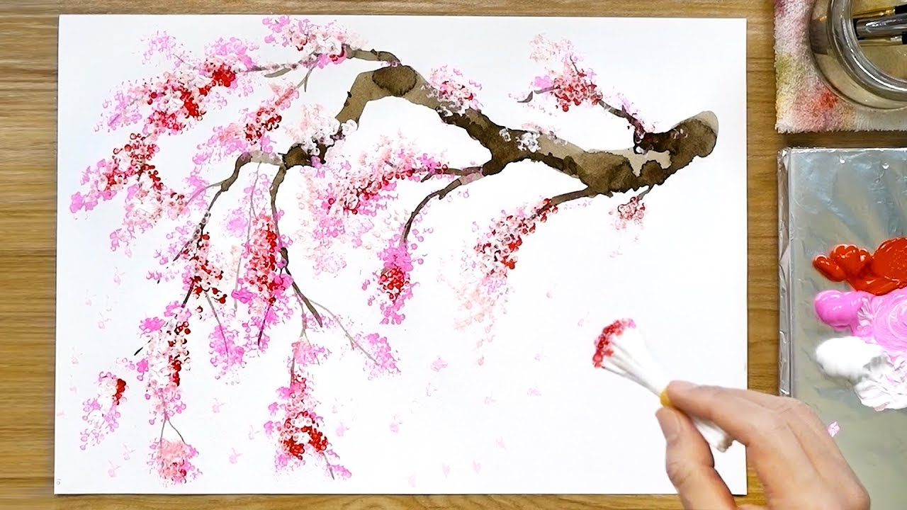 Cherry Blossom Painting Abstract Acrylic Original