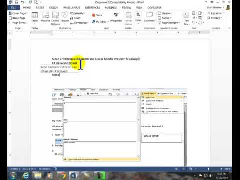 how to make auto content in word 2013