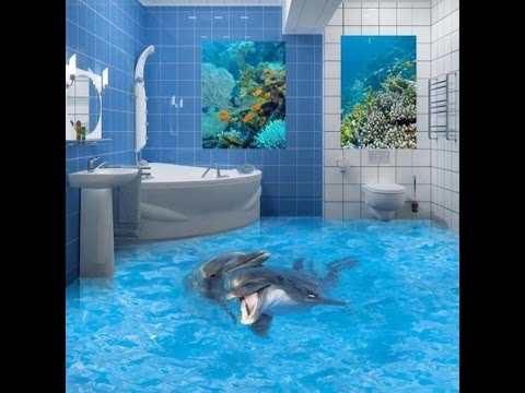 Blue bathroom flooring