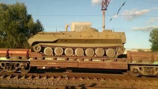 Эшелон с военной техникой и солдатами ВСУ. Киев, 15.09.2017