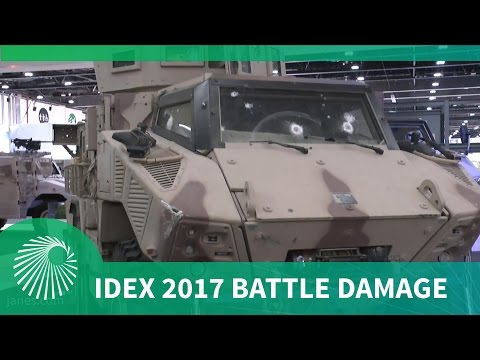 IDEX 2017: Battle-damaged Nimr Jais MRAP on display