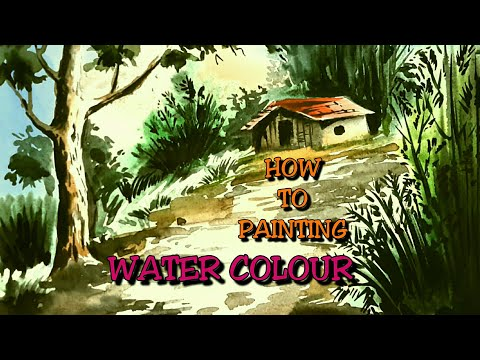 HOW TO WATER COLOUR LANDSCAPE PAINTING for beginners tutorial
