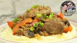 Очень нежная куриная печень с карамелизованными овощами. Кухня в кайф