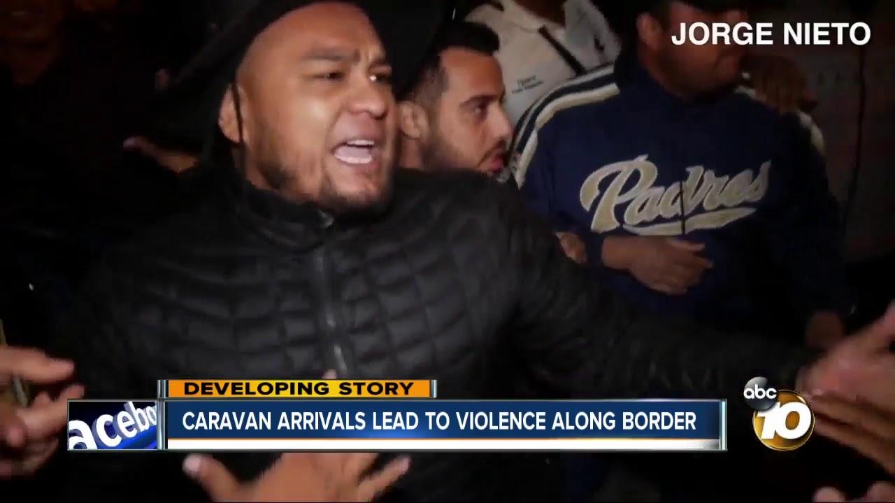 caravan arrivals lead to violence along border