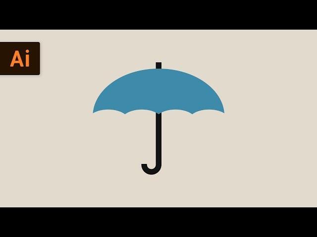 How to Draw an Umbrella | Flat Design Illustrator Tutorial