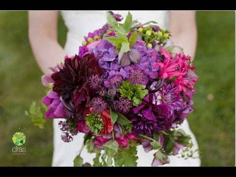 Purple Dahlia Wedding Bouquet