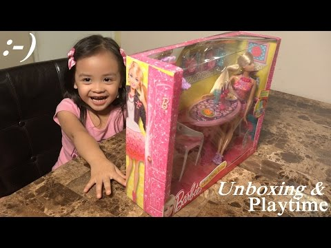 Toy Dolls for Little Girls: Unboxing BARBIE Glam Dining Table w/ Maya