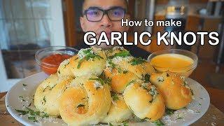 How to make GARLIC KNOTS w/  CREAMY CHEESE SAUCE