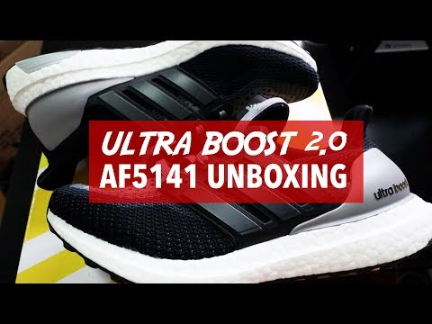 "ULTRA BOOST 2.0 ""BLACK GREY"" AF5141 (UP-CLOSE UNBOXING)"