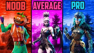 NOOB vs AVERAGE vs PRO PLAYER - FORTNITE MOBILE