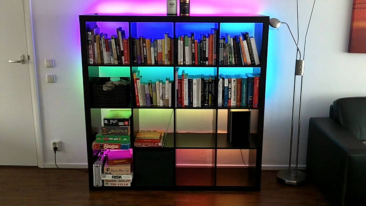ShiftPWM controlling RGB LED strips in my book shelves - YouTube