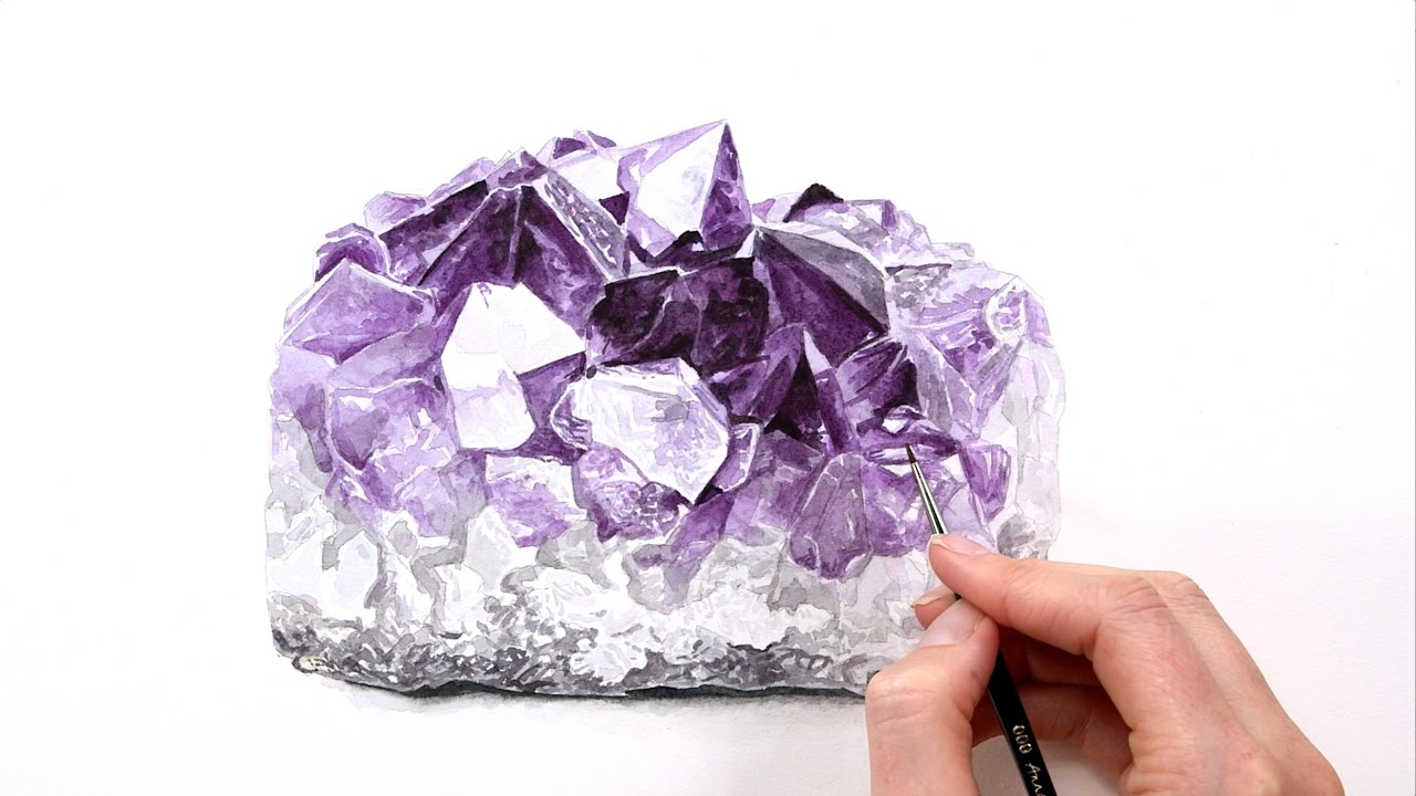 How to paint a realistic shiny amethyst crystal in for Paintings of crystals