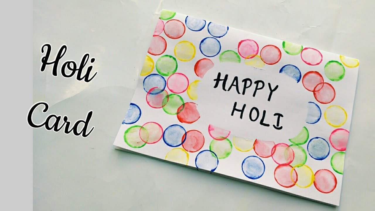 Handmade Holi Card For Kids Bottle Cap Holi Painting Card Happy Holi