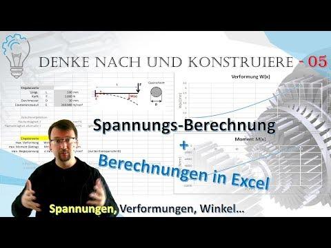 Berechnungen im Excel; Verformungen, Winkel, Spannungen - Denke nach und konstruiere - 05