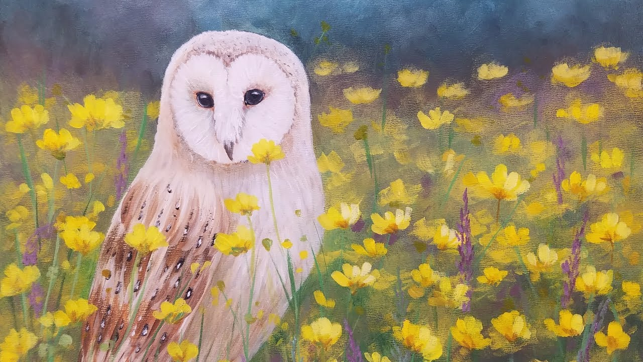 Barn Owl Acrylic Painting Tutorial Realistic Step By Step