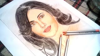 katrina kaif drawing with colour pencil