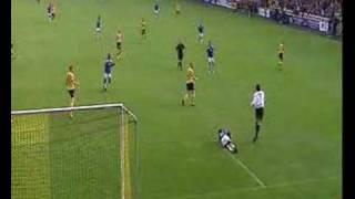 Horrible headkick by soccer-goalkeeper