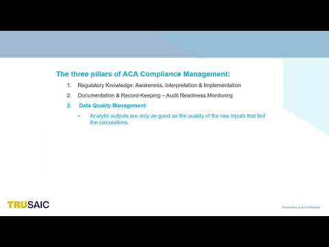 What are the Three Pillars of ACA Compliance Management - Webinar - Trusaic