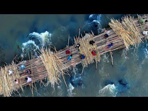The longest bamboo bridge in Laos