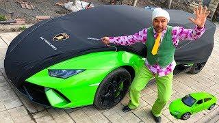 Mr. Joe Found Magic Cover For Car & Toy Car Turned In Big Car Lamborghini Huracan For Kids