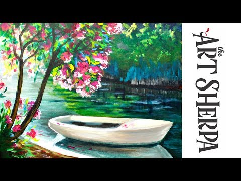 How to paint with Acrylic Lakeside Boat and Pink Flowering Tree