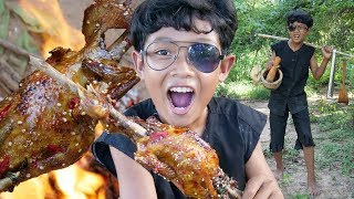 Survival Skills - Cooking chicken recipe and eating delicious Ep43