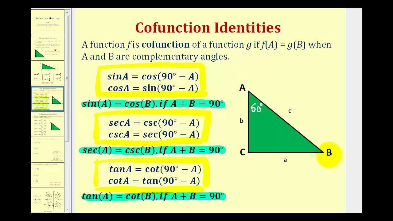 Advanced Trigonometric Idenies