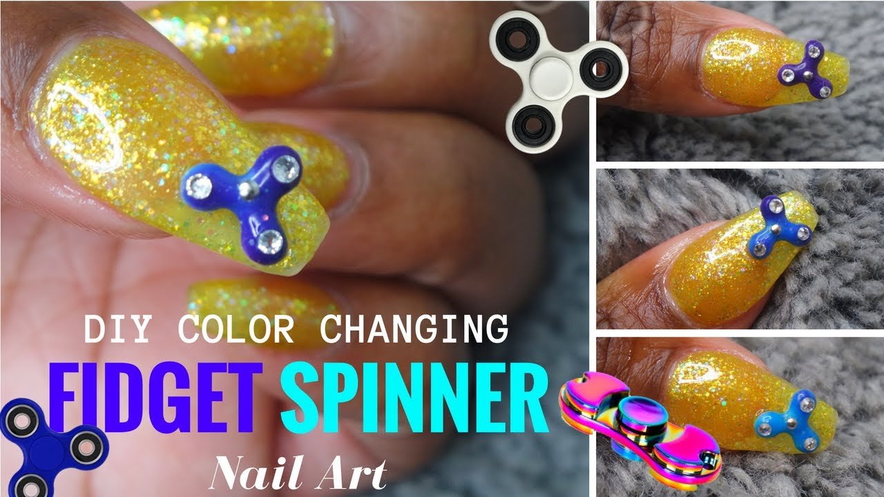 HOW TO Color Changing Fidget Spinner Nail!! SMALLEST FIDGET SPINNER ...