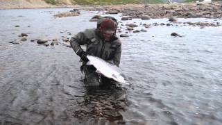 Guideline Power Team member Mikael Frödin with his 10ft 9wt Reaction on the Kharlovka River