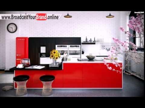 Rote Küche Hochglanz Fronten Essplatz
