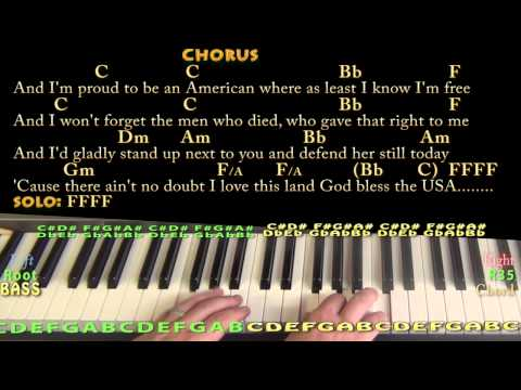 God Bless the USA (Lee Greenwood) Piano Chord Chart Instrumental