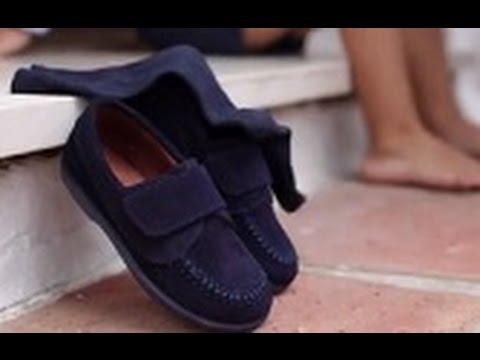 Mocasín Serraje Velcro Zapatos Niños Para Vestir En Pisamonas