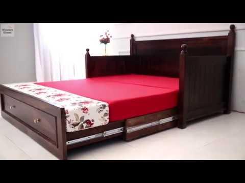 Sofa Cum Bed Shop Queen Size Gerrick Sofa Cum Bed Online In Walnut