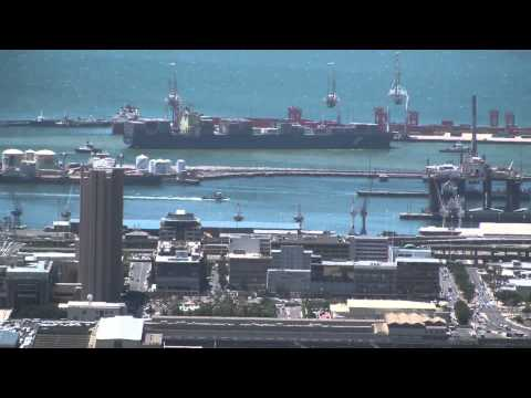Ship Entering Port and Docking - Cape Town