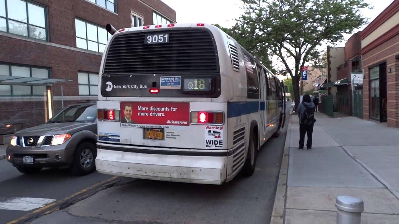 mta bus company: rts novabus #9051 q18 @ 58th street & woodside