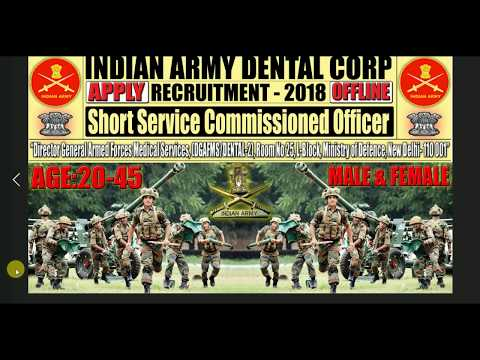 Indian Army Dental Corp Recruitment 2018-Apply Offline for SSC Posts