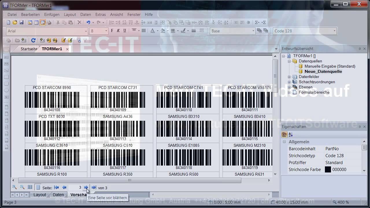 Barcode etiketten mit excel daten drucken tformer designer