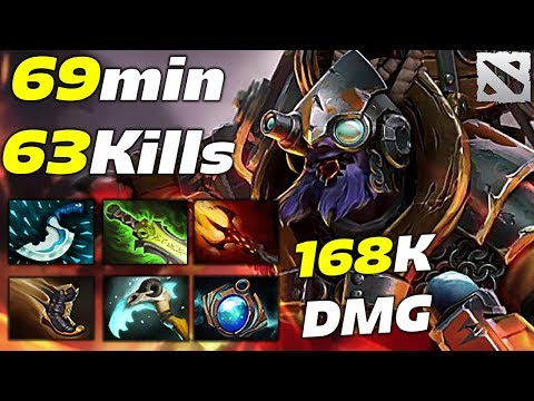TINKER 63 KILLS in 69 min EPIC GAME [168 000 Damage] Dota 2