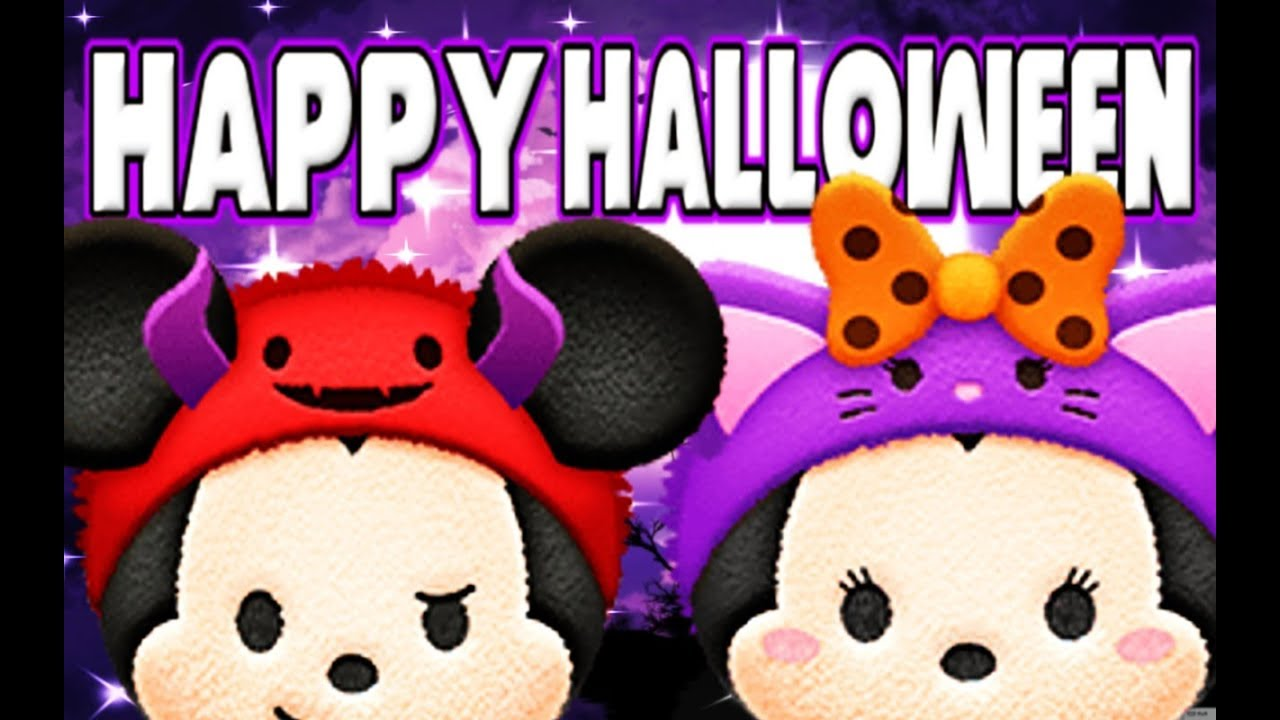 Horn Hat Mickey & Cat Hat Minnie Skill Lvl 6 MAX (Disney Tsum Tsum) Happy Halloween 2017! - YouTube