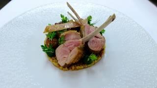 Head Chef Torsten Michel prepares a lamb dish in 3 star restaurant Schwarzwaldstube, Germany