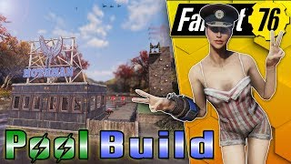SWIMMING POOL CAMP BUILD!!! - GLITCH WITH CAUTION - #FALLOUT76 SETTLEMENT BUILD