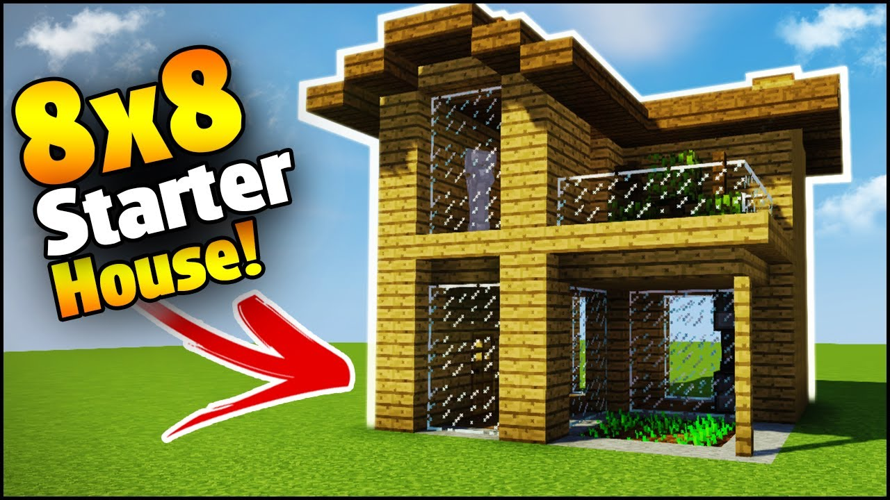 Minecraft 8x8 starter house tutorial how to build a for How to go about building a house