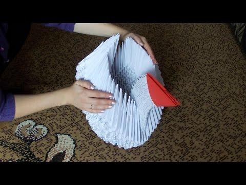 Модульное оригами гигантский лебедь (лебеденок) из больших модулей (мастер класс)