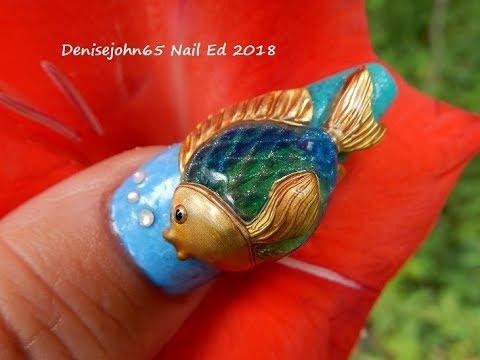 Tutorial / Fish Nail Art / 3 D Gel Nail Art / Ocean Nail Art / Beach Nails