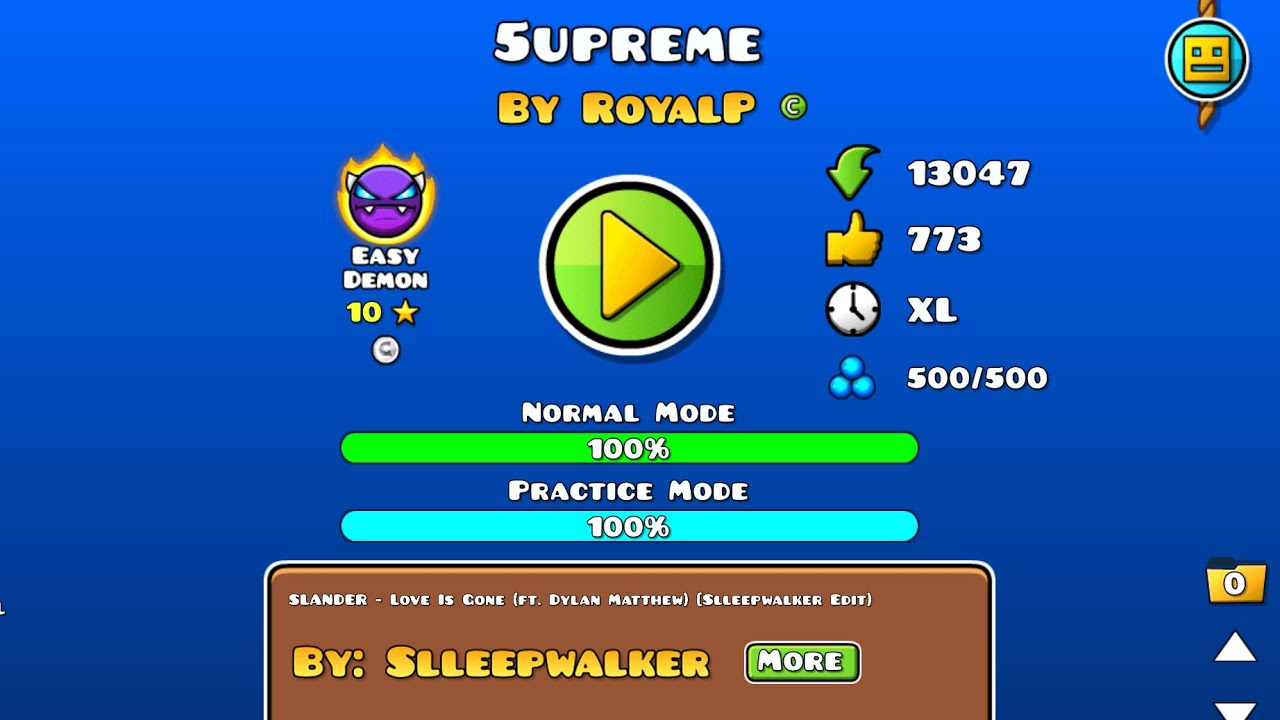 5upreme 100% [Coin] on Mobile (Easy Demon) by RoyalP | Geometry Dash 1