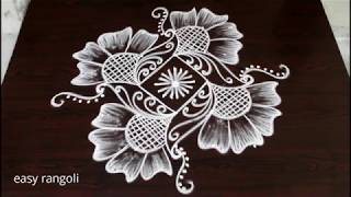 beautiful & simple creative kolam with 5 dots & easy rangoli designs *daily routine muggulu patterns