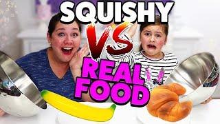 REAL FOOD vs. SQUISHY FOOD Challenge + BESTRAFUNG 😂 Geschichten und Spielzeug
